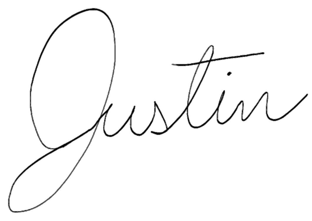Justin's signature